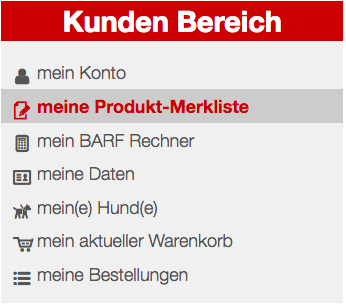 User Navigation: Meine Produkt Merkliste (Favoriten)